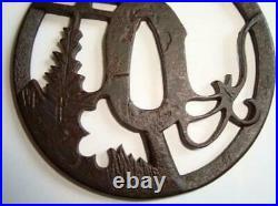 Tsuba Sword Edo Samurai Katana Antique Japanese Japan Iron Guard Torii design