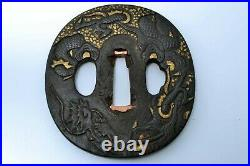 Tsuba antique Japanese Samurai sword guard Iron Jakushi Ryu, Dragon Edo