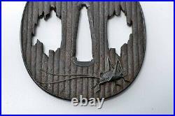 Tsuba antique Japanese Samurai sword guard Iron Kamadouma, like grasshopper Edo