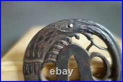 Tsuba guard shrimp lobster Japanese Samurai dot inlay sword fitting katana Edo