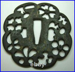Very Old Iron Japanese Tsuba Floral