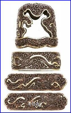 Very Rare Antique Japanese Iron Pair Namban Menuki Fuchi Kashira Dragon Samurai