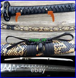 Very Sharp Clay Tempered T10Steel Blade Japanese Samurai Sword Katana Iron Tsuba