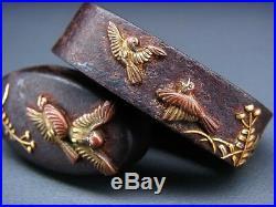 Very fine Sparrows FUCHI/KASHIRA 18-19thC Japanese Edo Antique for Koshirae F696