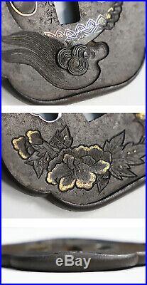 Vintage Japanese iron Tsuba lion peony Akagiken Motozaine Edo Era F/S Japan 367