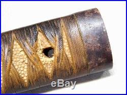 WAKIZASHI TSUKA Iron F/K 18-19thC Japanese Edo Original Antique Koshirae tsuba