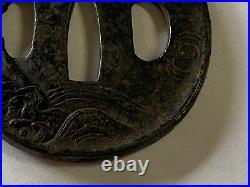 Y2309 TSUBA sword guard dragon Japanese samurai katana antique koshirae edo