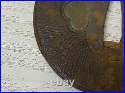 Y2317 TSUBA Iron sword guard signed Japanese samurai katana antique koshirae edo