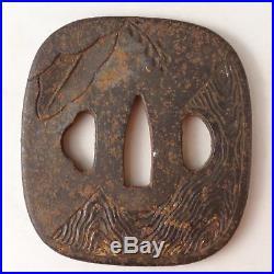 YI238 TSUBA Samurai Sword guard Japanese Katana Blade Vintage Geijyutu antique