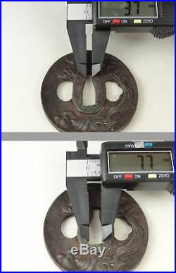 YI373 TSUBA Samurai Sword guard Japanese Katana Blade Vintage Geijyutu antique