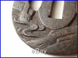 YI463 TSUBA Samurai Sword guard Japanese Katana Blade Geijyutu antique Art