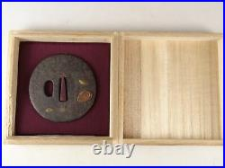 YI471 TSUBA Samurai Sword guard Japanese Katana Blade Geijyutu antique Art