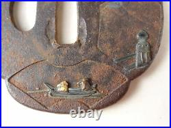 YI534 TSUBA Samurai Sword guard Japanese Katana Blade Geijyutu antique Art