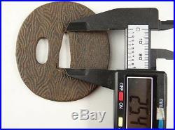 YI93 TSUBA Wood grain pattern Samurai Sword guard Japanese Katana Blade antique